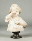 Carved Alabaster of Child with Spoon & Broken Plate