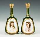 Bohemian Bottles with Painted Porcelain Plaques