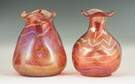 Two Loetz Decorated Red Vases
