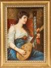 German Painting on Porcelain of Young Lady with Mandolin