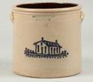 A.O. Whittemore, Havana, Four Gallon Stoneware Crock with House