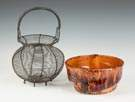 Wire Egg Basket & Redware Mold