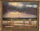 Painting with Figures on Beach, boats in distance