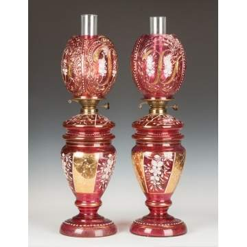 Pair of Victorian Cranberry Enameled & Gilded Oil Lamps