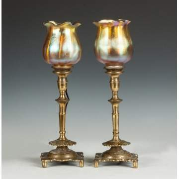 A Pair of Candle Lamps with Tiffany Shades