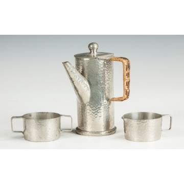 Roundhead Hammered Pewter 3-Piece Arts & Crafts Chocolate Set