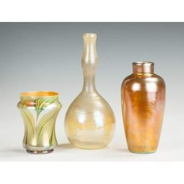 Two Tiffany Vases & Unsigned Iridescent Gold Vase
