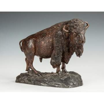 Bronze Buffalo Sculpture
