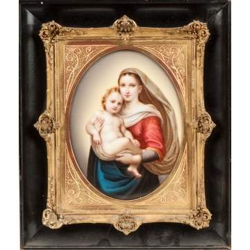 German Hand Painted Porcelain Plaque of Madonna & Child
