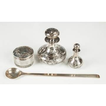 Sterling Overlay Jars & Steuben Sterling Spoon