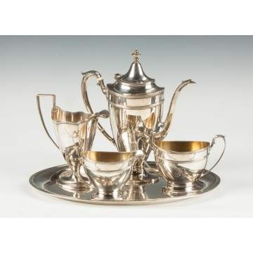 Gorham Sterling Silver 4 Piece Tea Set with Matching Tray