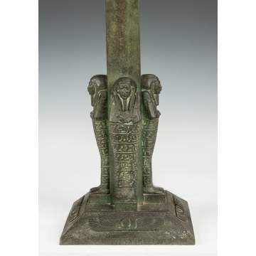 Bronze Lamp Base with Egyptian Motif