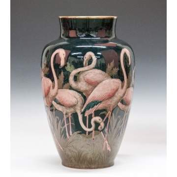 French Art Pottery Vase with Flamingoes
