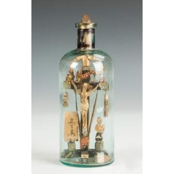 Carved Crucifix in a Bottle