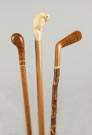 Three Wood Canes with Carved Handles