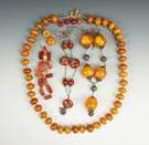 Group of Vintage Amber Style and Agate Beaded Jewelry