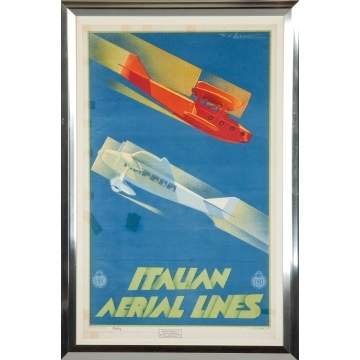 Italian Aerial Lines Vintage Poster