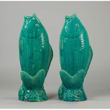 Two Blue Glazed Terracotta Fish