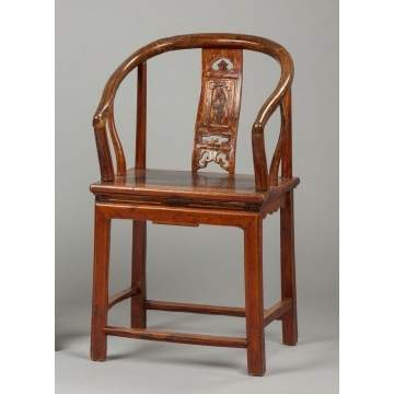Chinese Carved & Lacquered Arm Chair