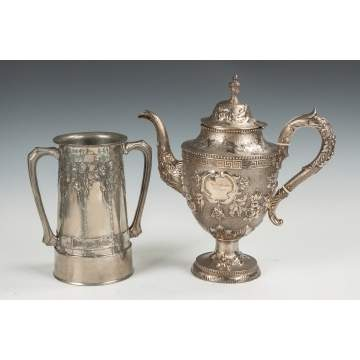 Pewter Vase & Coin Silver Coffee Pot