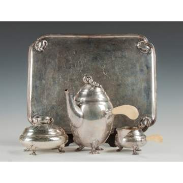 Georg Jensen Sterling Silver 3-Piece Tea Set with Matching Tray