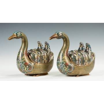 Pair of Chinese Bronze & Cloisonné Duck Censors