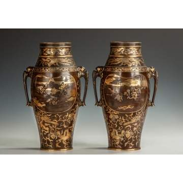 A Pair of Fine Miyao Eisuke Gilt Bronze & Mixed Metal Vases