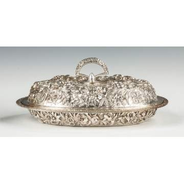 Steiff Sterling Silver Repousse Covered Vegetable Server