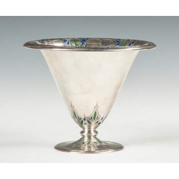 Tiffany & Co. Sterling Silver & Enameled Footed Vase
