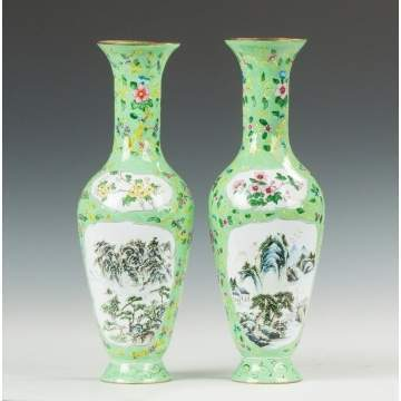 Pair of Chinese Vases, Enamel on Brass