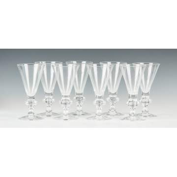 Eight Steuben Crystal Water Glasses