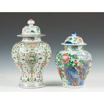 Two Chinese Porcelain Decorated Temple Jars