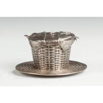 Russian Sterling Silver Covered Basket with Undertray