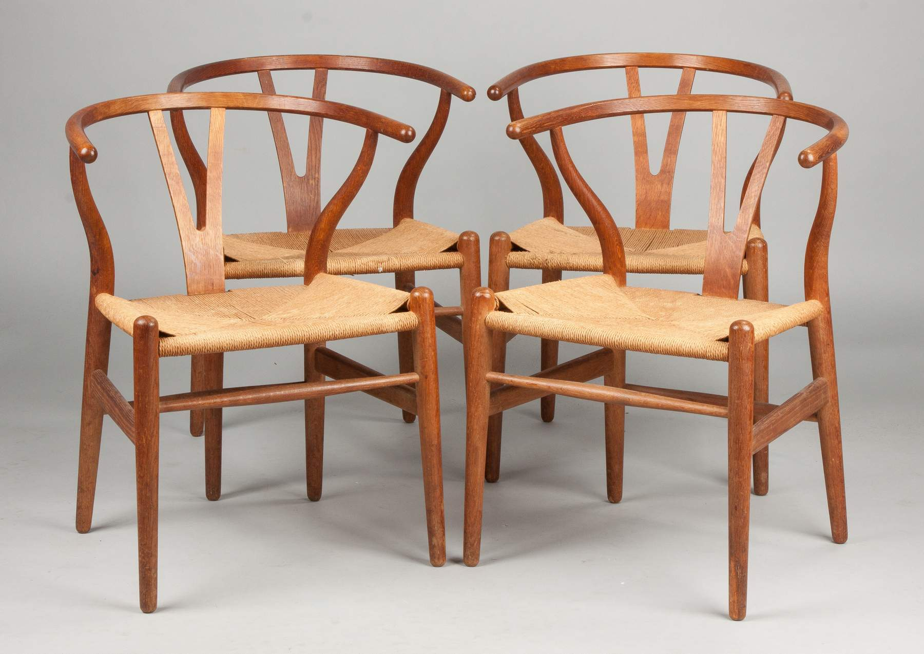 Hans Wegner Set of Four Wishbone Chairs