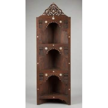 Middle Eastern Carved Corner Cabinet