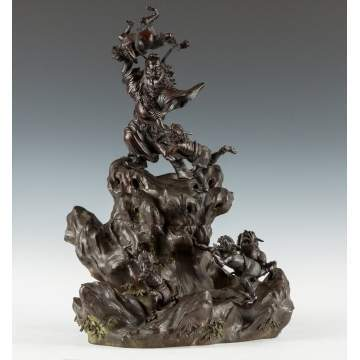 Japanese Patinaed Bronze Incense Burner, Group of Oni