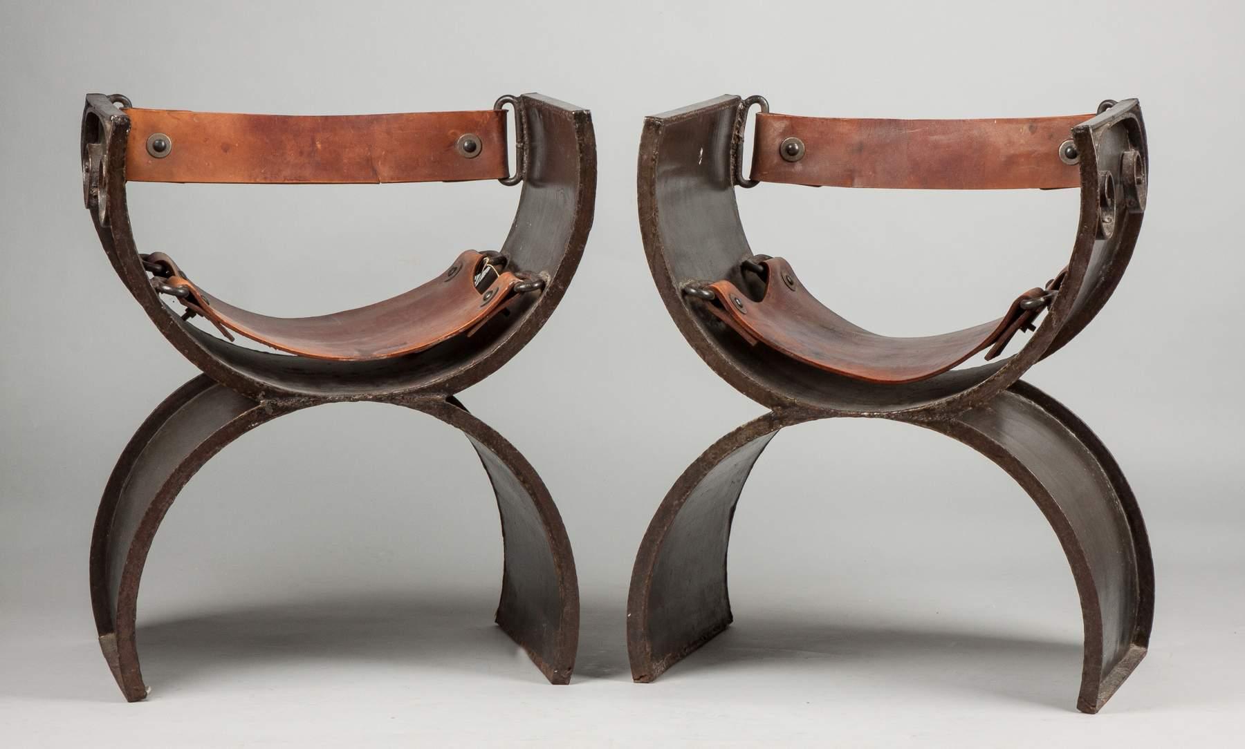1927) Welded Steel U0026 Leather Chairs