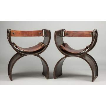 Victor Delfin (Peruvian, b. 1927) Welded Steel & Leather Chairs