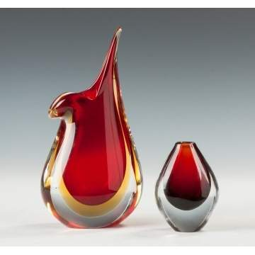 Contemporary Art Glass Vase & Orrefors Vase