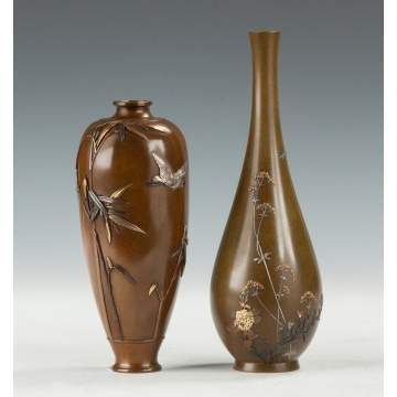 Japanese Mixed Metal Vases