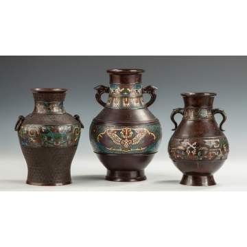 Three Chinese Bronze & Cloisonne Vases