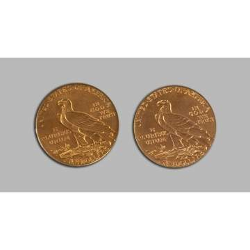Two Gold Indian Head Five Dollar Coins