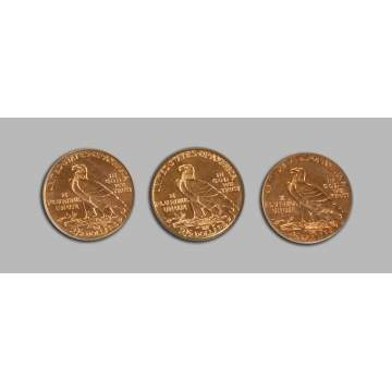 Three Gold Indian Head 2 1/2 Dollar Coins
