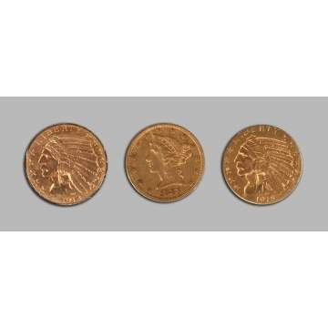 Two Gold Indian Head & One Liberty Head Five Dollar Coins