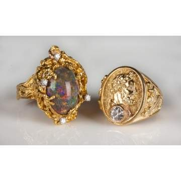 Gold, Opal & Diamond Rings