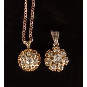 Two 14K Gold & Diamond Pendants