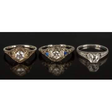 Three 18K Gold and Diamond Rings