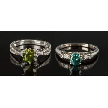 Two 14K White Gold & Diamond Rings