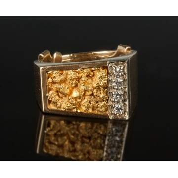 14K Gold Nugget & Diamond Ring