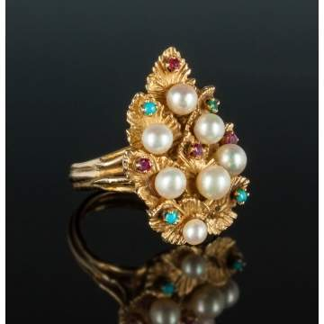 14K Gold, Pearl & Gemstone Ring